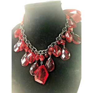 Red Beaded Chain Statement Necklace Adjustable
